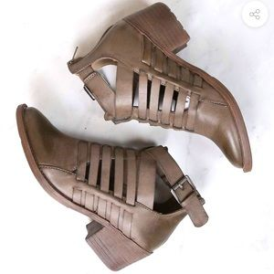 Volatile Taupe Western Cut Booties with Buckle